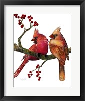 Framed Songbirds- Cardinals and Berries