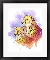 Framed Watercolor Safari- Cheetahs