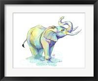 Framed Watercolor Safari- Green Elephant