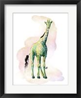 Framed Watercolor Safari- Green Giraffe