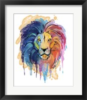 Framed Watercolor Safari- Rainbow Lion