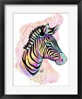 Framed Watercolor Safari- Rainbow Zebra