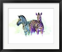 Framed Watercolor Safari- Zebras