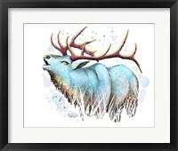 Framed Woodlands- Teal Elk