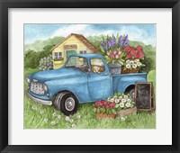 Framed Blue Truck Flowers Hello Spring