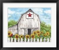 Framed Barn Fence Sunflowers and Birds