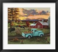 Framed Barn Fall Leaves Sunset
