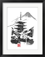 Framed Fuji San And Temple
