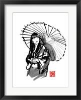 Framed Geisha Under Umbrella
