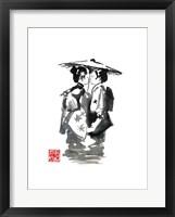 Framed Two Geisha