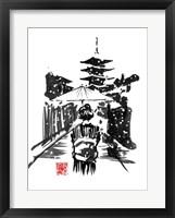 Framed Geisha In The Snow