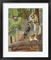 Framed Chicadee and Owl