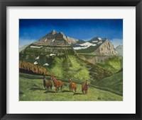Framed Four Mountain Horses