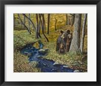 Framed 2 Bears Autumn Stroll