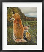 Framed Red Fox and Kit