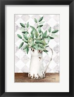 Framed Eucalyptus White Tin Pitcher
