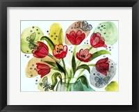 Framed Flowers And Butterflies