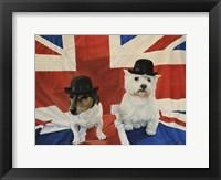 Framed 2 Dogs on a Union Jack Flag