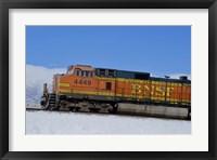 Framed Orange Train in Snow