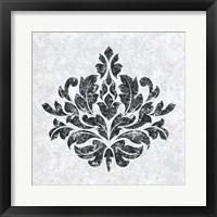 Framed Textured Damask I on white