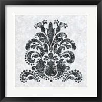 Framed Textured Damask II on white