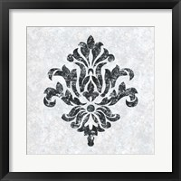 Framed Textured Damask III on white