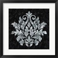 Framed Textured Damask I on black