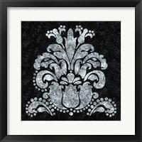 Framed Textured Damask II on black