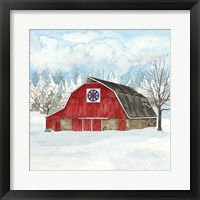 Framed Winter Barn Quilt IV
