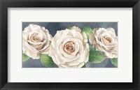 Framed Ivory Roses on Gray Landscape I
