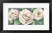 Framed Ivory Roses on Gray Landscape II