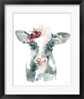 Framed Floral Cow
