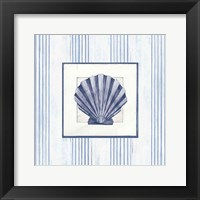 Framed Sanibel Shell I Navy
