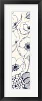 Navy Pen and Ink Flowers III Crop Framed Print