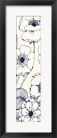 Navy Pen and Ink Flowers II Crop Framed Print