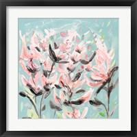 Framed Wild Flowers on Teal