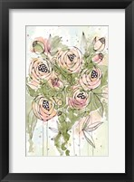 Framed Blush and Green Floral