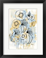 Framed Yellow and Blue Blooms I