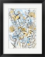 Framed Yellow and Blue Blooms II