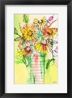 Framed Bursting Wildflowers in Vase