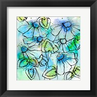 Framed Blue Bursts and Blossoms Square