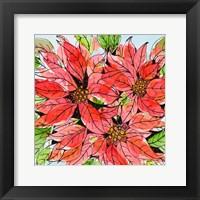 Framed Vibrant Poinsettias I
