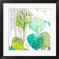 Framed Green Stamped Leaves Square II
