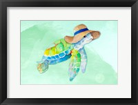 Framed Turtle With Hat on Watercolor (blue)