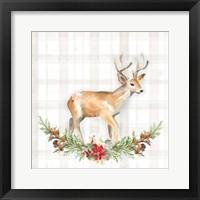 Holiday Woodland Garland on Plaid II Framed Print