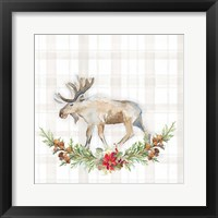Holiday Woodland Garland on Plaid I Framed Print