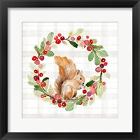 Holiday Woodland Wreath on Plaid II Framed Print