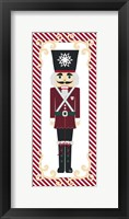 Nutcracker On Red Stripe I Framed Print