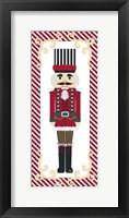 Nutcracker On Red Stripe III Framed Print