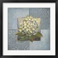 Hydrangeas on Blue I Framed Print